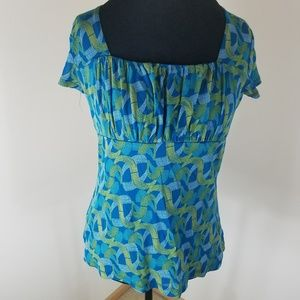 Liz & Co. Ribbon patterned Blue and Green Blouse